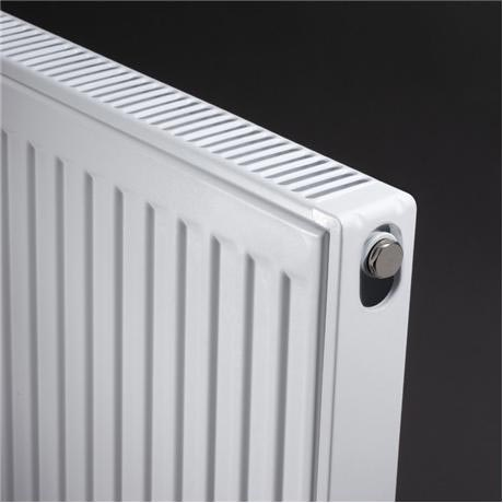Type 21 Double Panel Single Convector Radiator - H600 x W400mm - P604K - Close up image of a convector radiator in white