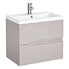 Urban Compact 600mm Wall Hung 2 Drawer Vanity Unit - Cashmere profile small image view 1