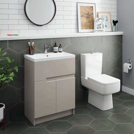 Urban 600mm Cashmere Compact Floorstanding Vanity Unit + Close Coupled Toilet