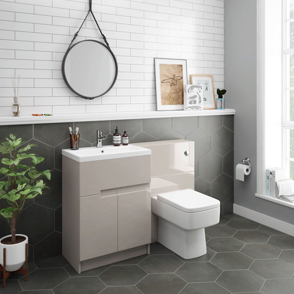Urban Cashmere Modern Sink Vanity Unit + WC Toilet Unit Package