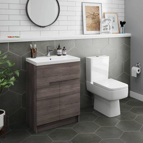 Urban 600mm Grey Avola Compact Floorstanding Vanity Unit + Close Coupled Toilet