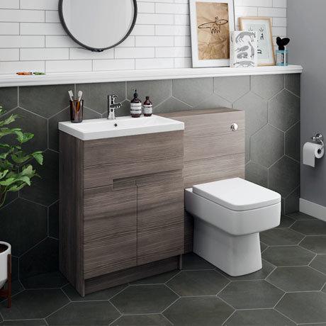 Urban Grey Avola Modern Sink Vanity Unit + WC Toilet Unit Package