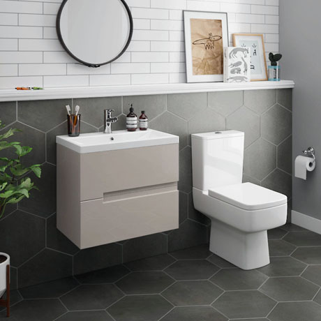 Urban 600mm Cashmere Compact Wall Hung Vanity Unit + Close Coupled Toilet