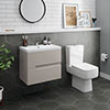 Urban 600mm Cashmere Compact Wall Hung Vanity Unit + Close Coupled Toilet profile small image view 1