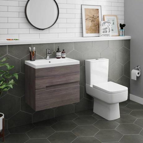 Urban 600mm Grey Avola Compact Wall Hung Vanity Unit + Close Coupled Toilet