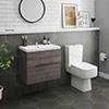 Urban 600mm Grey Avola Compact Wall Hung Vanity Unit + Close Coupled Toilet profile small image view 1