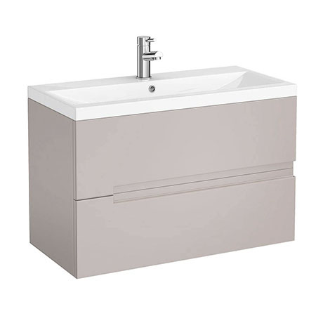 Urban Compact 800mm Wall Hung 2 Drawer Vanity Unit - Cashmere