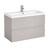 Urban Compact 800mm Wall Hung 2 Drawer Vanity Unit - Cashmere profile small image view 1