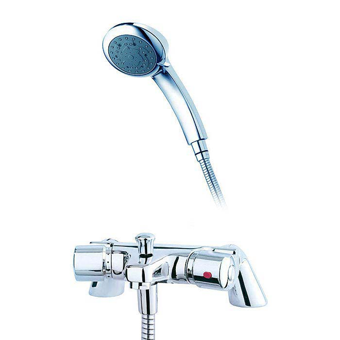 Triton Aire Thermostatic Bath Shower Mixer with Handset & Wall Bracket - UNAITHBSM Large Image