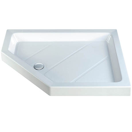 MX Classic Flat Top LH Polyester Gel Coated Offset Pentangle Shower Tray