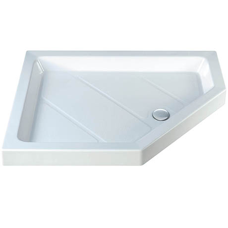 MX Classic Flat Top RH Polyester Gel Coated Offset Pentangle Shower Tray