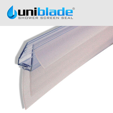 Uniblade Universal Shower Screen Seal for Straight or Curved 4-10mm Thick Glass