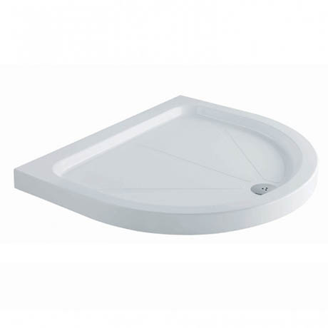 MX Classic Flat Top Polyester Gel Coated D-Shaped Shower Tray - 1040 x 920mm - UNI
