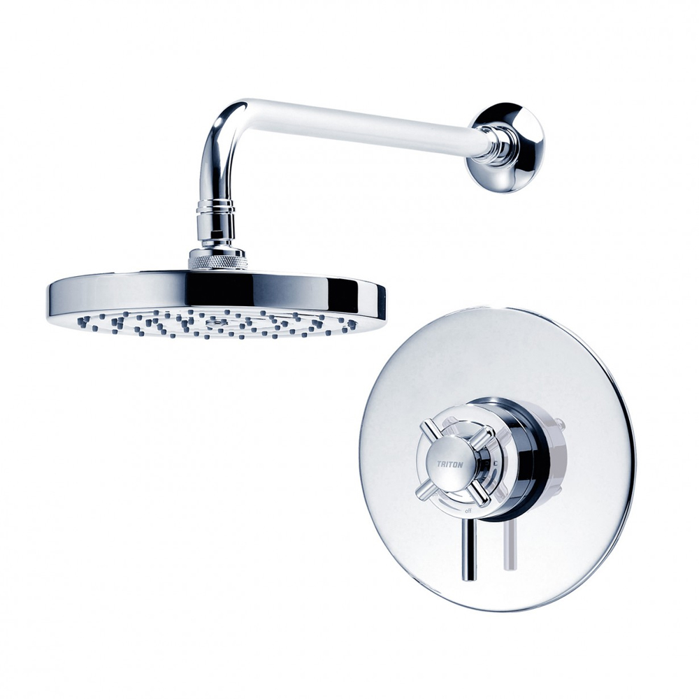 Triton Mersey Built-In Concentric Thermostatic Shower Mixer with Fixed Head - UNMEBTCMFH profile large image view 2