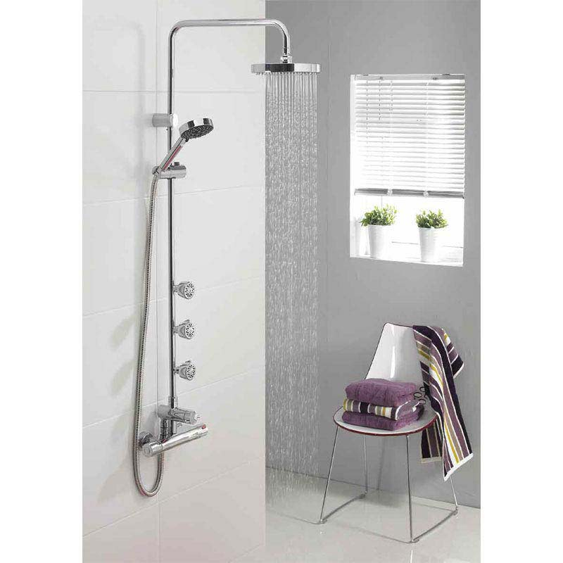 Triton Nene Thermostatic Bar Shower Mixer with Diverter & Body Jets - UNNETHBMDIV profile large image view 4