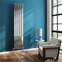 Urban 1800mm Chrome Vertical Single Panel Radiator - Various Widths Medium Image
