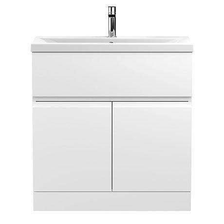 Hudson Reed Urban Satin White 800mm Floor Standing 2-Door/Drawer Vanity Unit - URB105A
