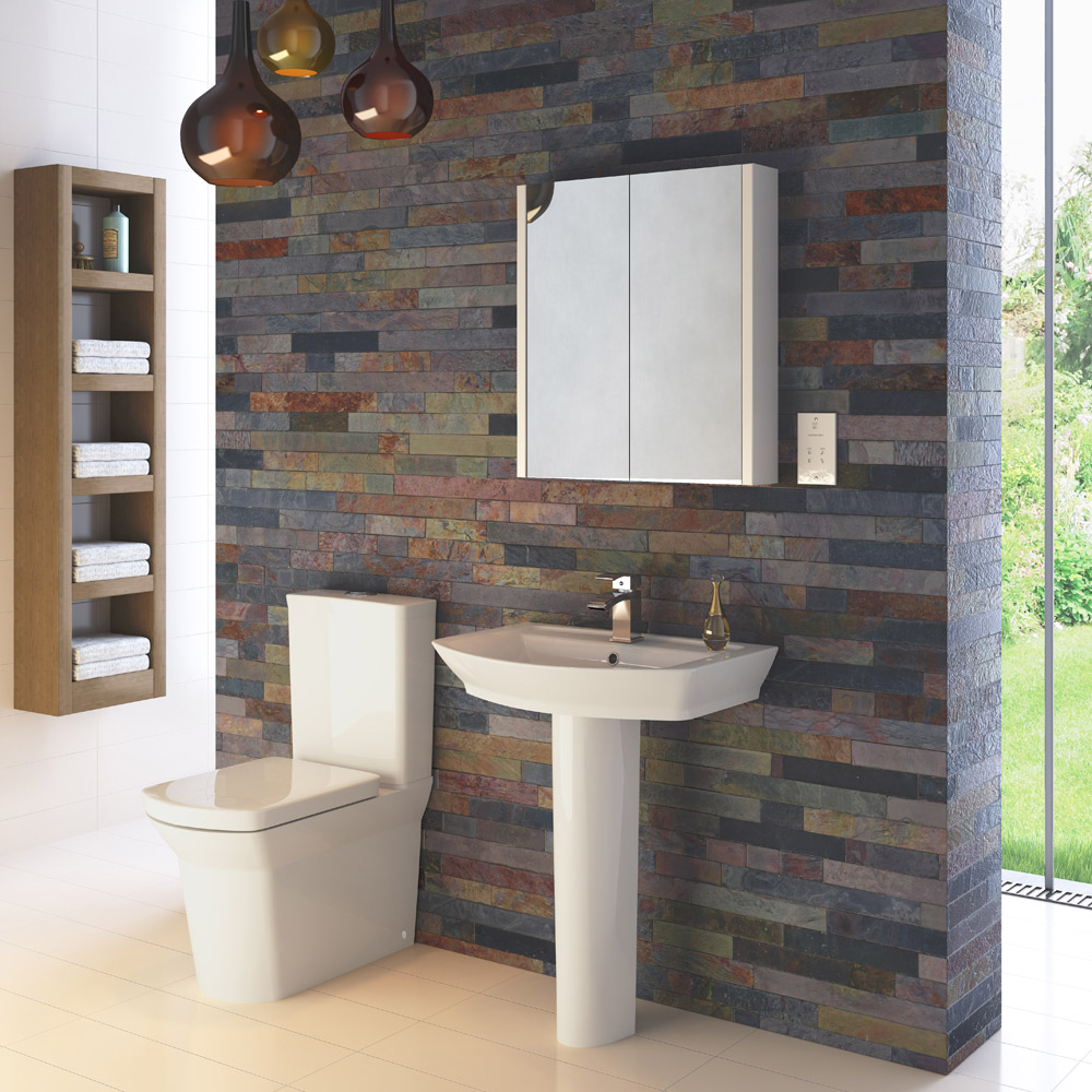 Hudson Reed Alton 4 Piece Bathroom Suite - CC Toilet & 1TH Basin with Pedestal - 3 x Basin Size Options profile large image view 1