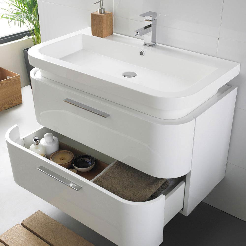 Ultra Bias Wall Mounted Basin Unit W900 x D500mm - White Gloss Finish - RF016  Profile Large Image