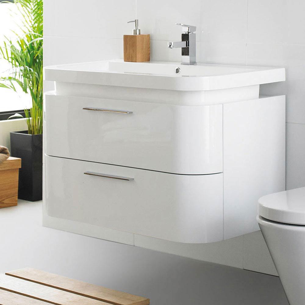 Ultra Bias Wall Mounted Basin Unit W900 x D500mm - White Gloss Finish - RF016 Large Image