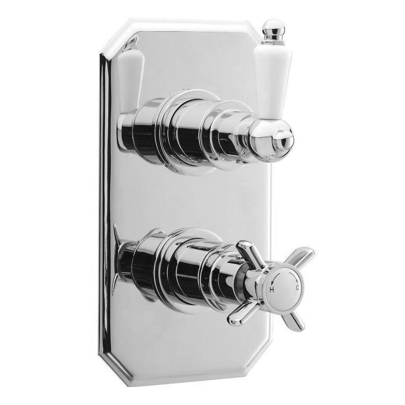 Ultra Concealed Traditional Thermostatic Twin Shower Valve - A3033 Large Image