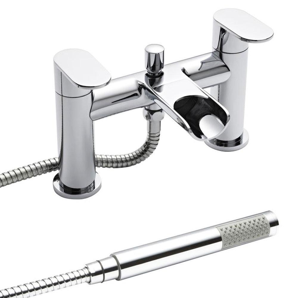 Ultra Flume Open Spout Bath Shower Mixer Tap + Shower Kit FLU314 Large Image