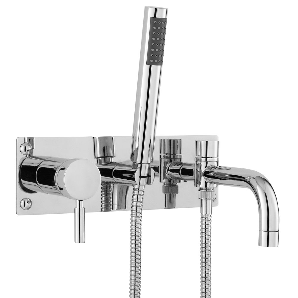 Ultra Helix Single Lever Wall Mounted Bath Shower Mixer - Chrome - PK350 Large Image