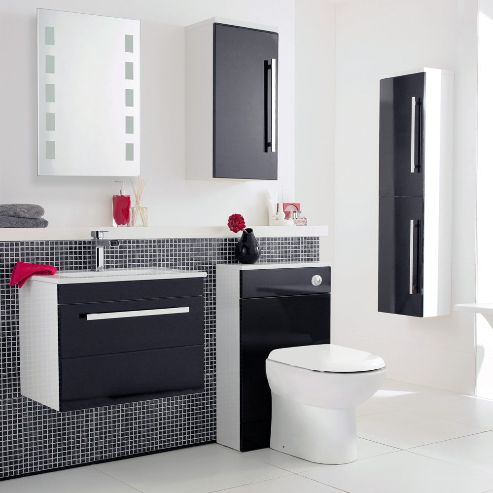 ultra high gloss black furniture pack at victorian plumbing uk - Bathroom Cabinets Black Gloss