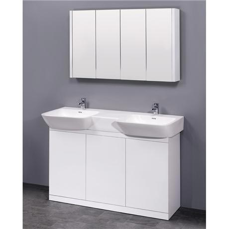 Ultra Lux Floor Mounted Unit W Double Basin Amp Mirror