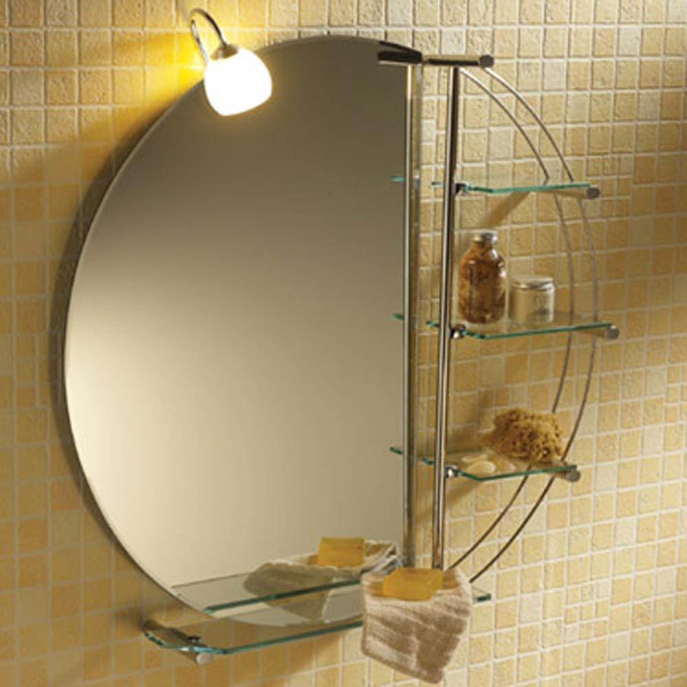 Magnum Mirror With Light Glass Shelves