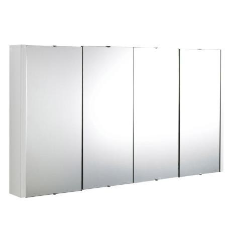 Ultra Minimalist Mirror Cabinet with 4 Doors W1200 x D110mm - White - LUXMW1200