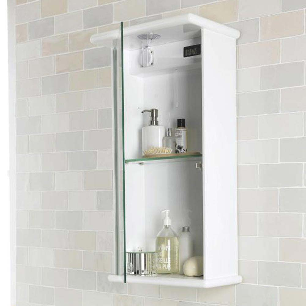 Ultra Niche Single Mirror Cabinet with Light, Shaving Socket and Digital Clock - LQ386  Feature Large Image