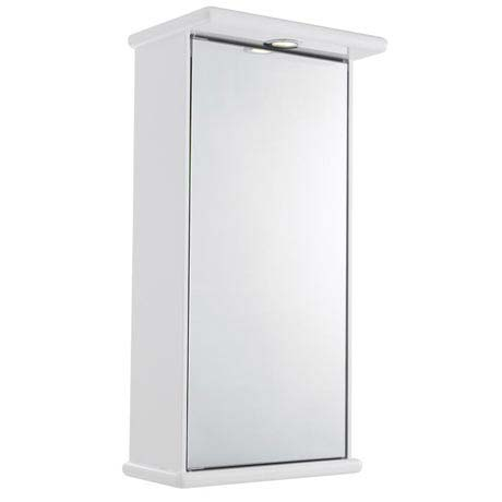 Ultra Niche Single Mirror Cabinet with Light, Shaving Socket and Digital Clock - LQ386