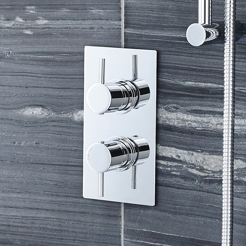 Ultra Pioneer Round Concealed Thermostatic Twin Shower Valve - PIOV21 profile large image view 2