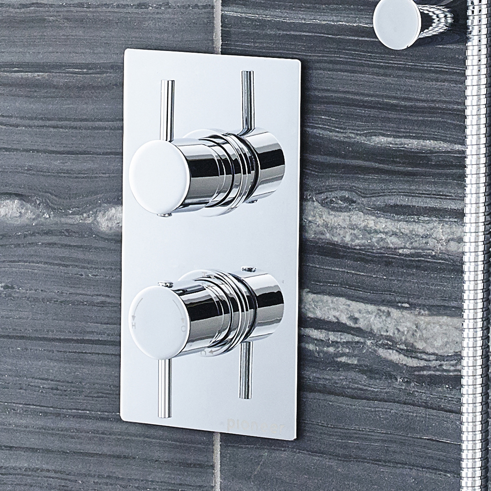 Ultra Pioneer Round Concealed Twin Shower Valve with Built-in Diverter profile large image view 2
