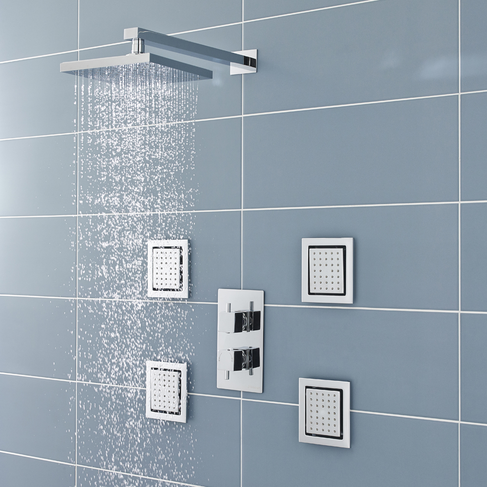 Ultra Pioneer Square Shower Valve With Diverter & 4 Body Jets Online
