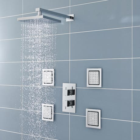 Ultra Pioneer Square Shower Valve with Diverter, Fixed Head & 4 Body Jets