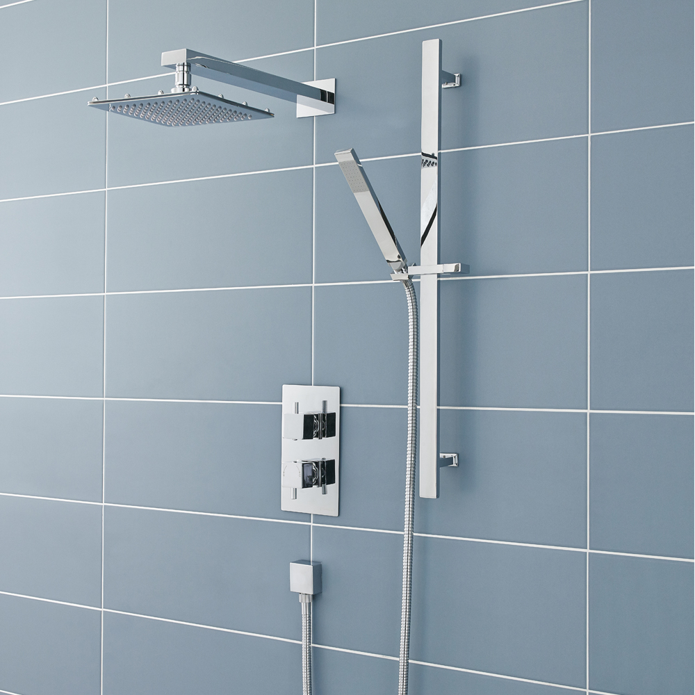 Ultra Pioneer Square Shower Valve with Diverter, Fixed Head & Slide Rail Kit Large Image
