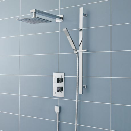 Ultra Pioneer Square Shower Valve with Diverter, Fixed Head & Slide Rail Kit