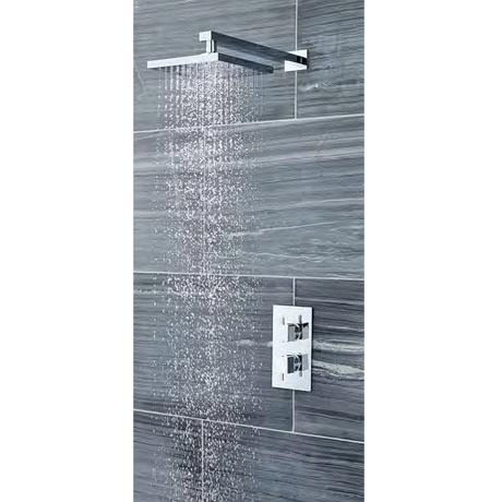 Ultra Pioneer Square Twin Concealed Shower Valve with Fixed Head & Arm