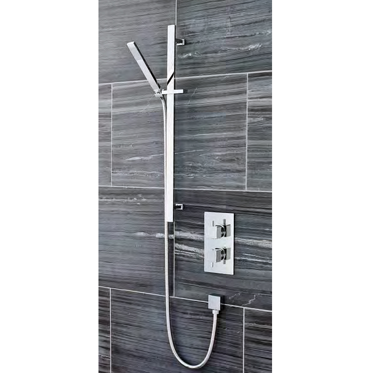 Ultra Pioneer Square Twin Concealed Shower Valve with Slide Rail Kit profile large image view 1