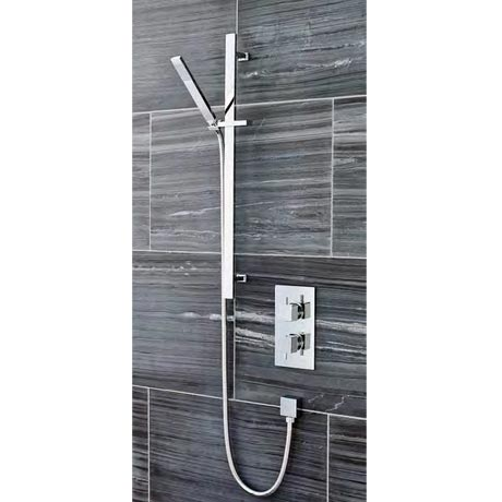 Ultra Pioneer Square Twin Concealed Shower Valve with Slide Rail Kit