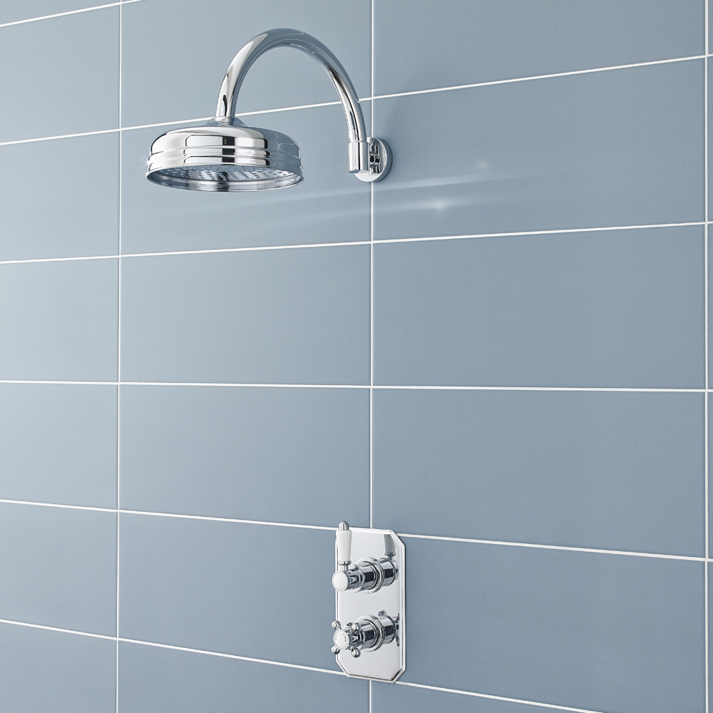 Ultra Pioneer Traditional Twin Concealed Valve with Fixed Head & Curved Arm Large Image