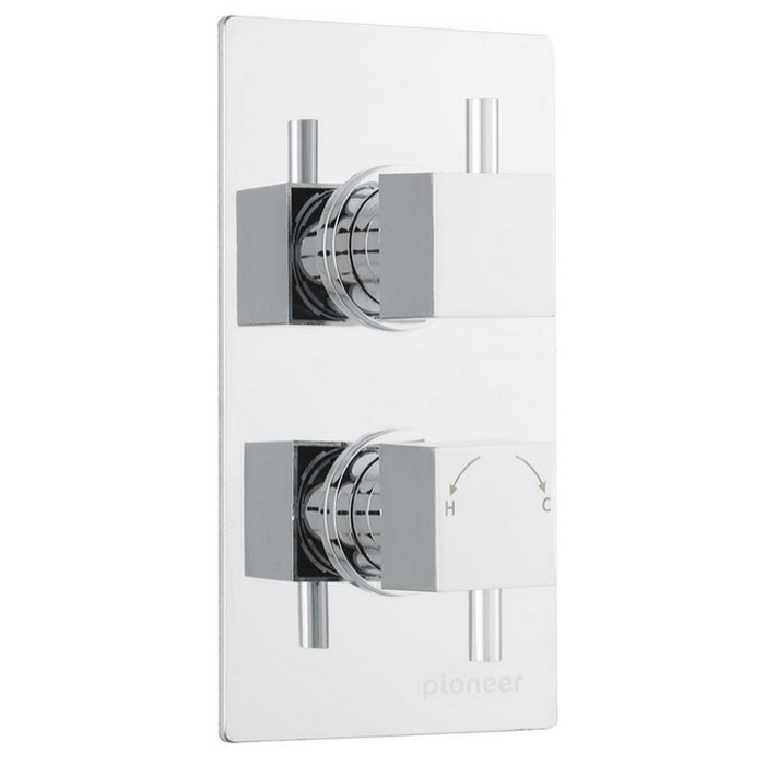 Ultra Pioneer Square Twin Concealed Thermostatic Shower Valve - PIOV31 Large Image