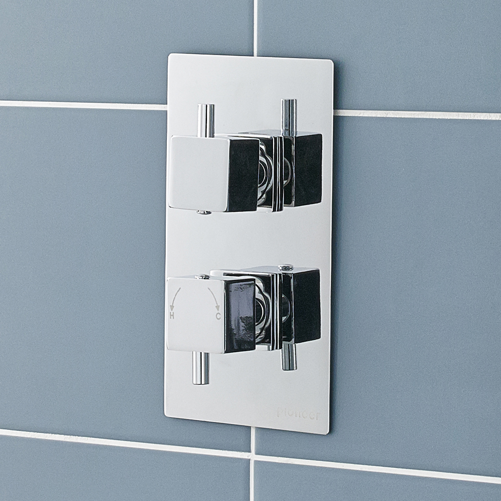 Ultra Pioneer Square Twin Concealed Thermostatic Shower Valve - PIOV31 profile large image view 2