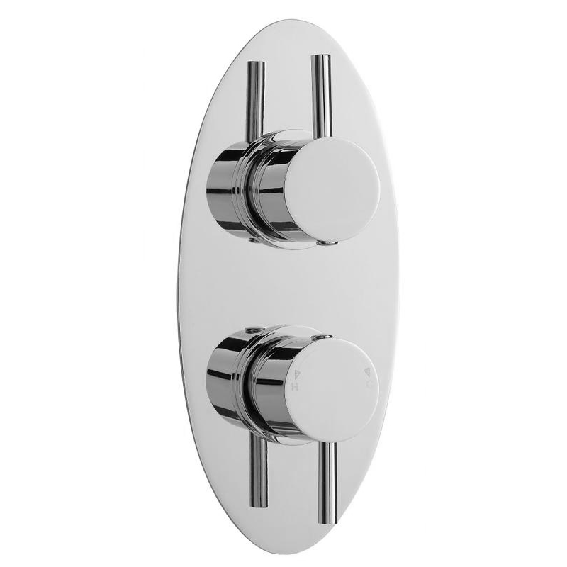Ultra Quest Oval Concealed Thermostatic Twin Shower Valve - QUEV01 Large Image