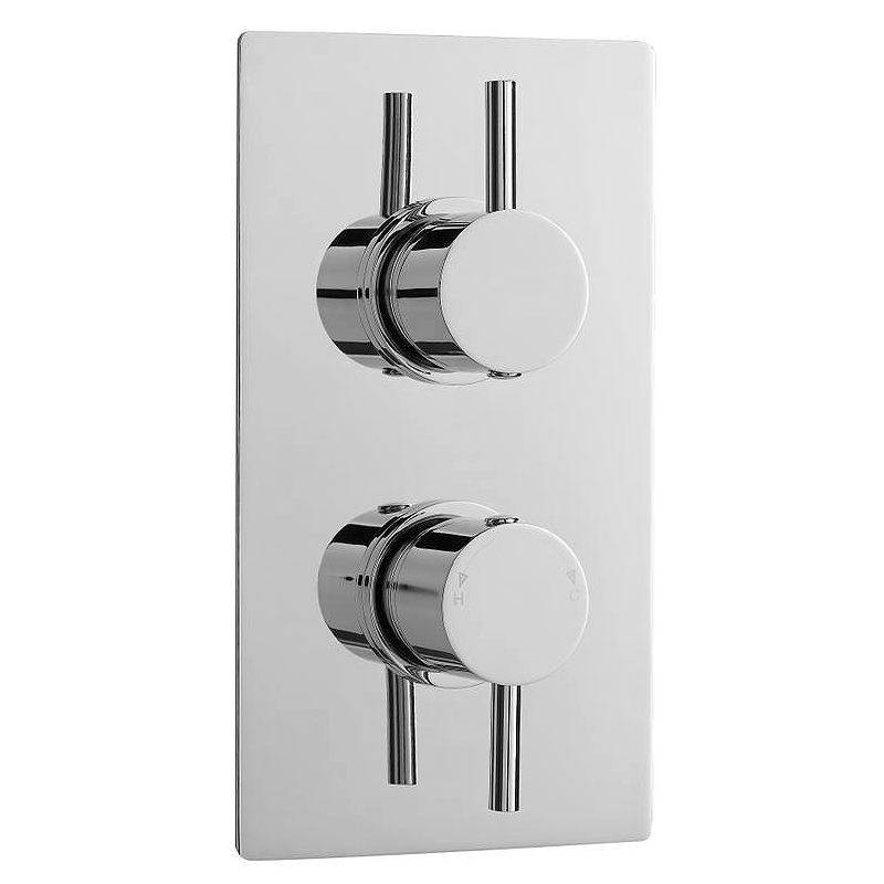 Ultra Quest Rectangular Concealed Thermostatic Twin Shower Valve - QUEV51 Large Image