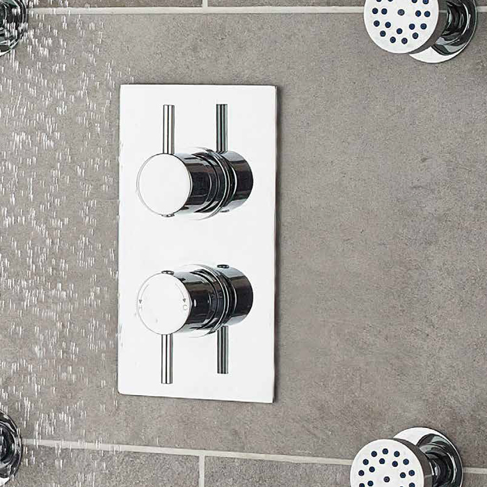 Ultra Quest Rectangular Twin Shower with Built-in Diverter - QUEV52 Profile Large Image