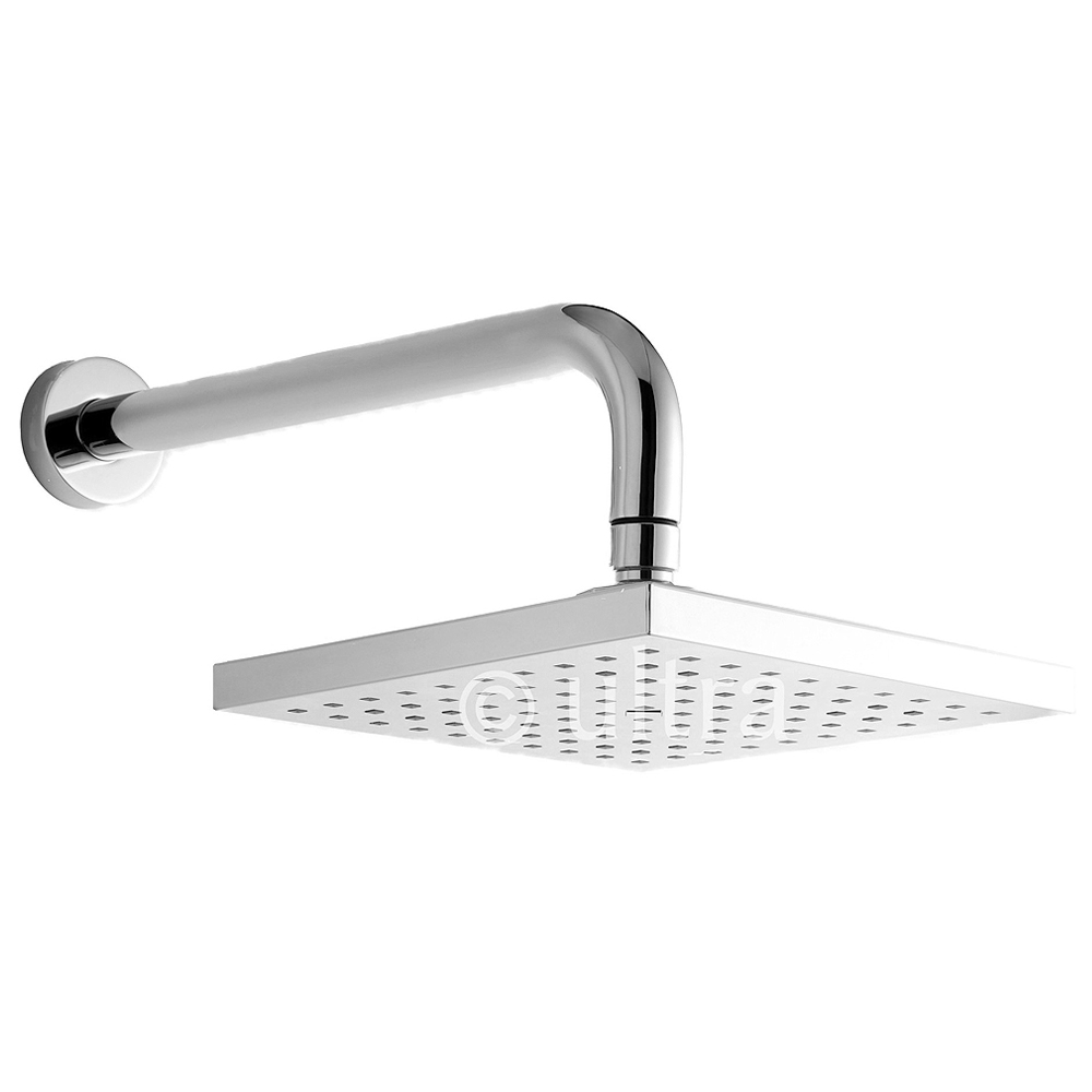 Ultra Rialto Square Fixed Shower Head & Arm - Chrome - A3236 Large Image