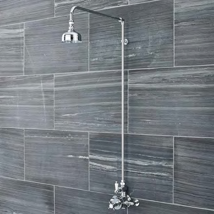 Ultra Traditional Shower Rigid Riser Kit with Swivel - Chrome Profile Large Image